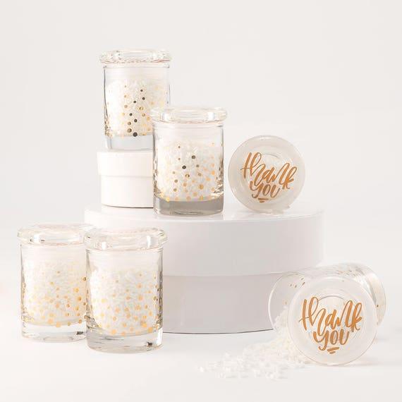 Party Favor Jars, 6  Gold Foil Confetti Mini Glass Favor Jar With Lid, Gift Packaging Jar, Mini Gold Confetti Jars