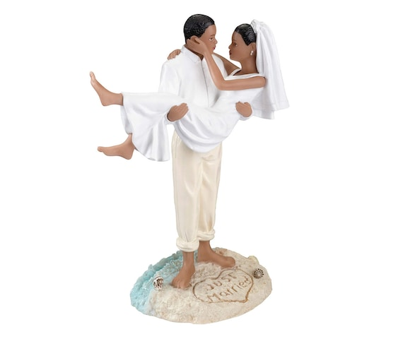 Beach Wedding Cake Figurine, African American Bride and Groom Cake Topper, Beach Wedding Cake Topper