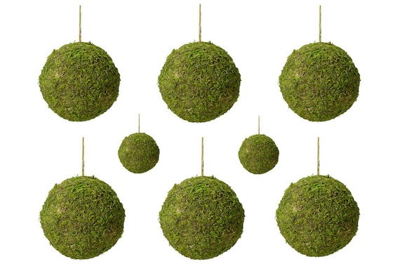 Moss Balls Set of 8 Green Moss 5 Inch Hanging Balls ideal for Creating Wedding Decor Hanging Aisle and Pew End Decorations and Floral Decor