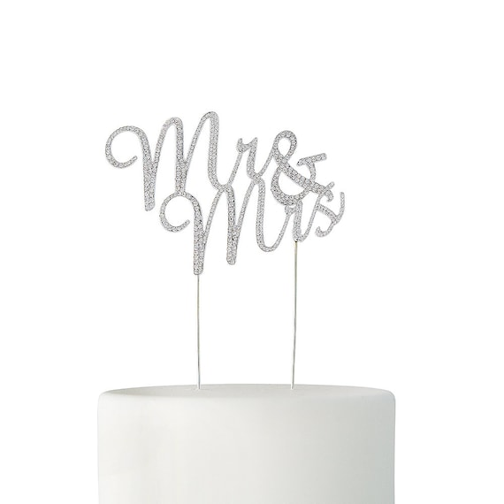 Mr and Mrs Rhinestone Cake Topper, Wedding Cake Topper, Wedding Cake Pick, Floral Supply, Cake Topper for Wedding, Wedding Cake Decorations