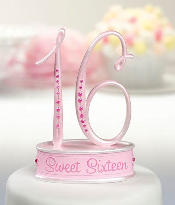 Sweet 16 Cake Topper Pink Birthday Top 16th