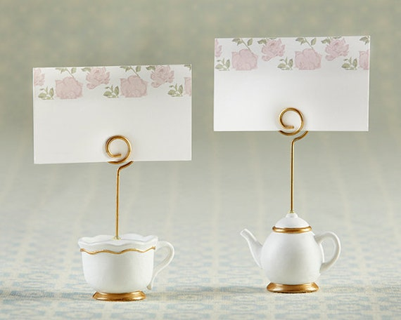 Bridal Shower Favors, Seating Card Holders, Tea Party Favors, Teapot Teacup Photo Holder Party Favors