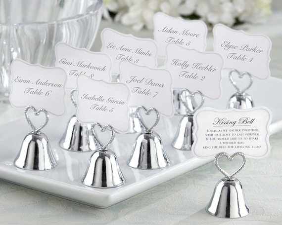 Wedding Favor Bells, Kissing Bells Wedding Favors, Silver Heart Bell Place Card Holders, Seating Card Holders, Place Card Holders