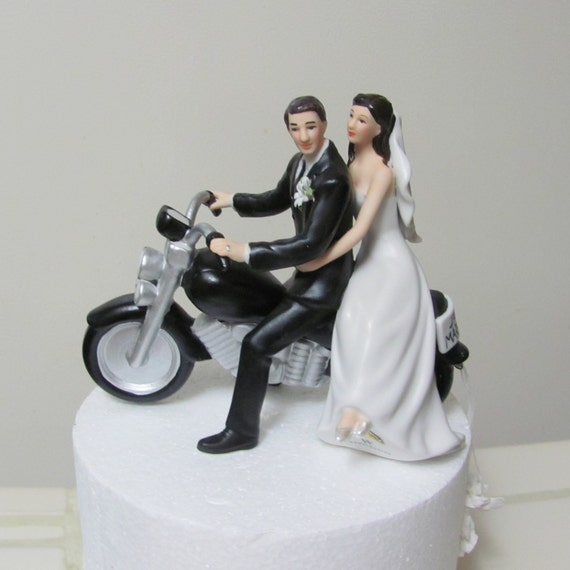 Motorcycle Wedding Cake Topper, Bride and Groom Figurines for Cake Top, Motorcycle Wedding Figurine