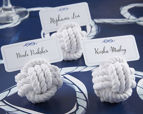 Nautical Wedding Event Seating Card Holders, Sailor Knots Place Card Holders, Nautical Party Favors, Monkey Fists Place Card Holders