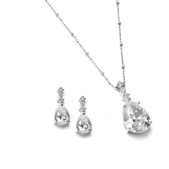 Bridal Necklace Set Features Brilliant CZ Pear Shaped Drop Necklace Set 293S-CR