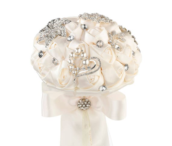 Bridal Bouquet, Rhinstones and Satin Roses Bridal Bouquet, Bridal Bouquet, Wedding Bouquets, Cream or white Brooch Like Bouquet