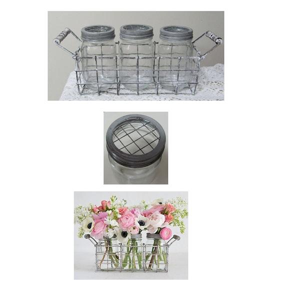 Floral Grid Lid Mason Jars, Jar Vases,Craft Jars, Unity Sand Jars, Centerpiece Jars