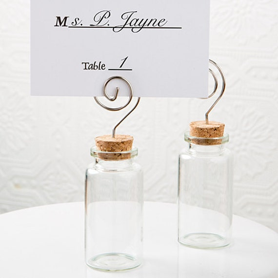 Place Card Holders, Party Favor Jars with Card Holders, Cork Topped Favor jars, Small Glass Card Holder Jars