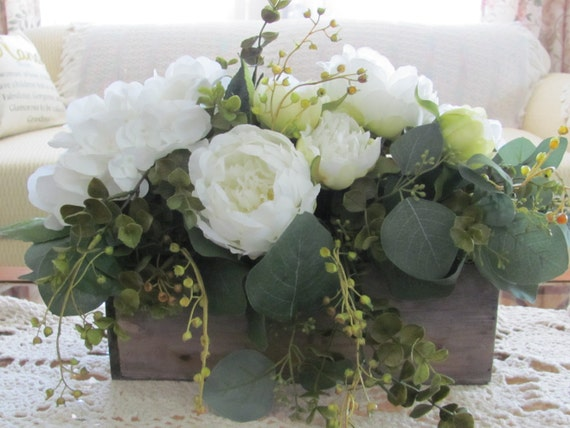 Wedding Centerpieces, Decorations, Wedding Flowers, Floral Arrangement, Home Decor, Artificial Hydrangea, Peonies, Eucalyptus