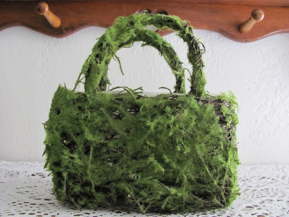 Faux Moss Planter Basket, Craft Basket, Wedding Floral Container, Small Planter Basket, Party Container, Flower Pot Basket