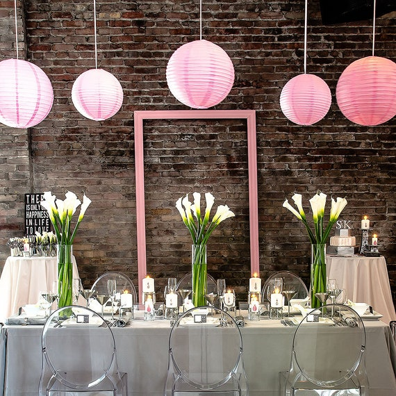 Pastel Pink Party Lanterns, Wedding Lanterns, Hanging Paper Lanterns, Wedding Decorations, Party Decorations,  Paper Hanging Lanterns,