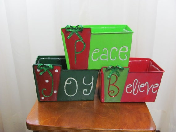 3 Christmas Planters, Christmas Flower Plant Container, 3 Metal Holiday Flower Planters, Peace Joy Believe Planters, Christmas Floral Crafts