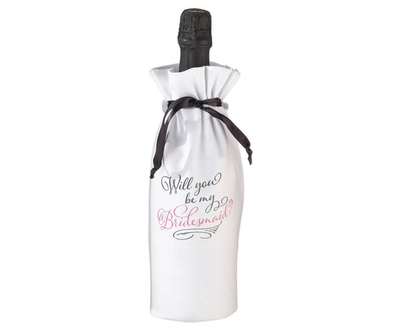 Unique Wine Bottle Bag,  Bridesmaid Proposal Wine Bags, Bridesmaids Wine Bottle Gift Bag, Will you be my Maid of Honor Gift Bag