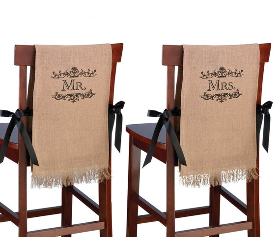 Mr & Mrs Chair Sign Covers, Wedding Chair Signs for Bride and Groom