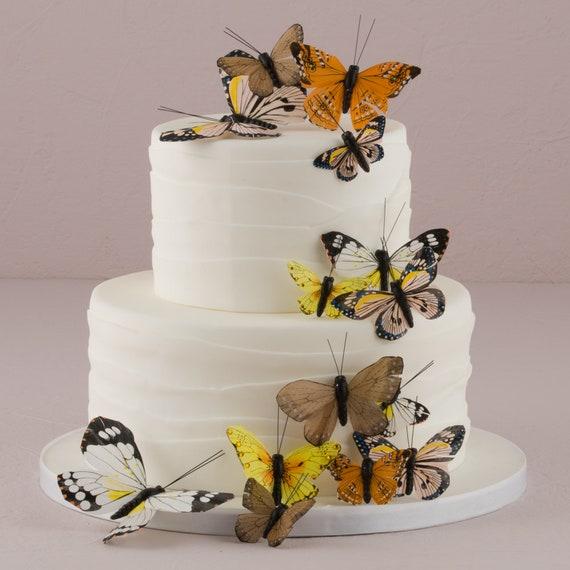 Wedding Butterflies, 24 Feather Butterflies, Wedding Cake Butterflies, Color Choices Purples, Blue, Pink, Natural Elegance, Garden Green