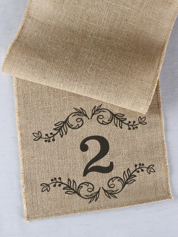 Burlap Table Runner with Number of Table, Rustic Burlap Runner, Reception Table Number Runners, Wedding Table Runner, Event Table