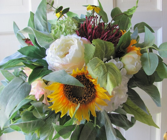 Bridal Bouquets, Garden Bridal Bouquet, Silk Bridal Bouquet, Sunflower Bouquet, Boho Bridal Bouquet, Sunflowers, Peonies, Protea, Hydrangea