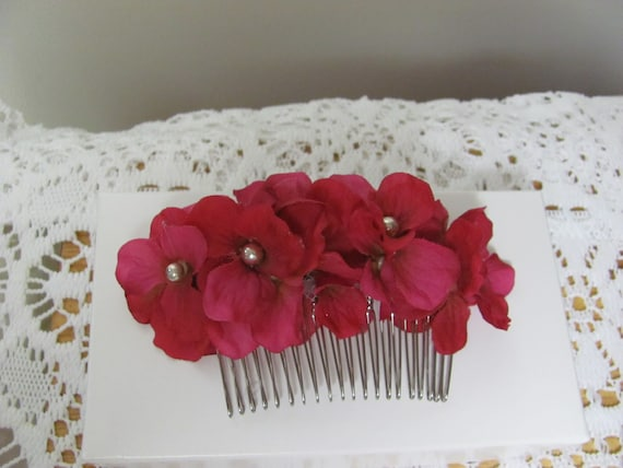 Pink Hydrangea Flower Hair Comb, Floral Hair Comb, Hair Flowers, Hair Accessory