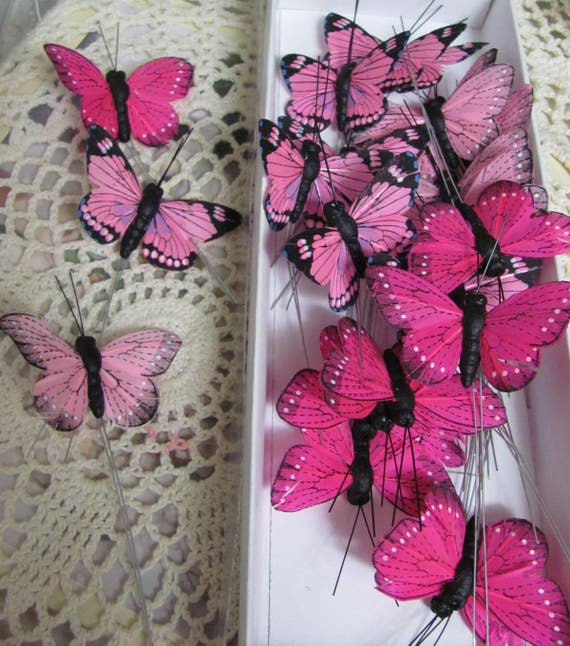 Pink Butterflies , Feather Butterflies, Craft Butterflies, 25 Decorative Butterflies, Two Inch Size Butterfly