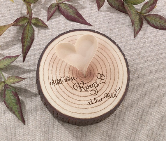 Wedding Ring Ceremony Ring Holder, Rustic Faux Log Wedding Ring Holder, With This Ring I Thee Wed