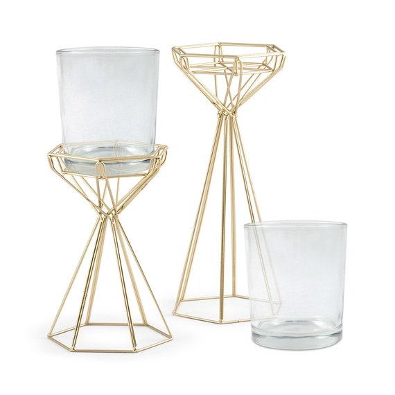 Geo Gold  Vase, Modern Vase, Modern Metal holder with Glass Vase, Wedding Vase to Make DIY Centerpiece, Wire Floral Forms
