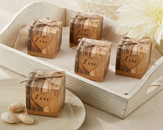 12 Rustic Wedding Favor Boxes, Rustic Wedding Favor Boxes, Engagement Party Boxes, Wood Look Favor Boxes, Gift Boxes, Favor Packaging