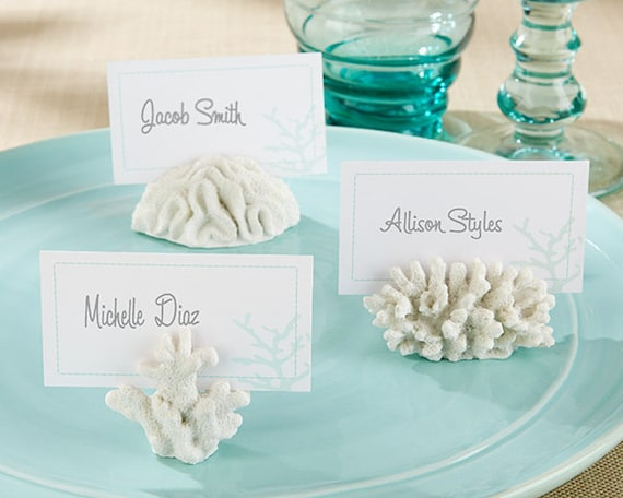 Beach Party Place Card Holders, Beach Wedding Favors, Party Favor Seating Card Holders, Place Cards with Holders