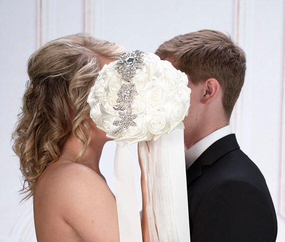 Bridal Bouquet, Cream Rose with Rhinestone Accent Bridal Bouquet