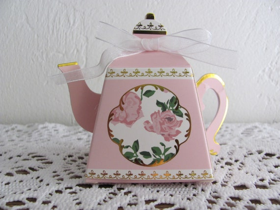 35 Teapot Party Favor Boxes, Pink Bridal Shower Favor Boxes, Pink Tea Party Favor Boxes