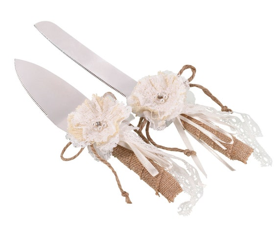 Rustic Wedding Cutlery Set, Wedding Cake Cutting Ceremony Cutlery, Wedding Reception Cake Knife Server Set,