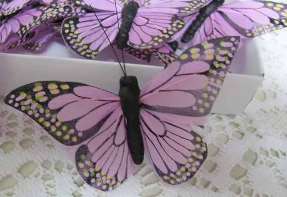 12 Lavender Butterflies, Feather Butterflies, Craft Butterflies, Wedding Party Favor Butterfly, Butterfly for Globes and Domes