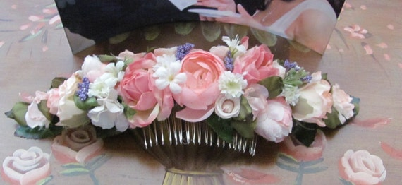 8 Inch Long Floral Headpiece, Hair Flowers, Bridal Comb, Prom Comb, Metal Comb with Flowers, Pink Mixed Flower Hair Comb