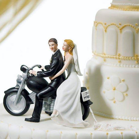Motorcycle Wedding Cake Topper, Bride and Groom Figurines for Cake Top, Motorcycle Wedding Figurine