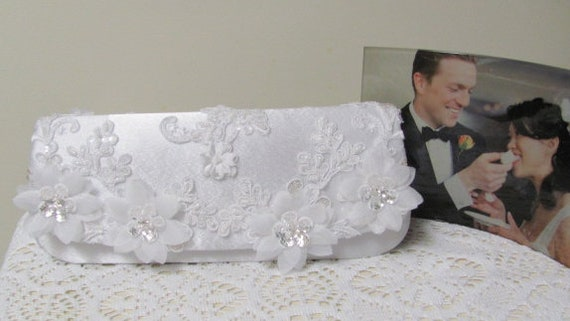 Bridal Purse, Clutch Purse, White Satin Evening Bag with Intricate Lace Applique