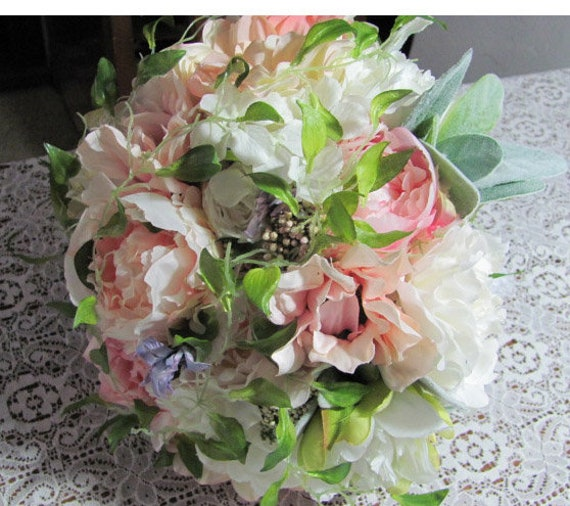 Bridal Bouquet, Silk Bridal Bouquet, Handmade Bouquets, Lace Handle Brides Bouquet,Peachy in Pink Silk Bridal Bouquet, Brides Bouquet