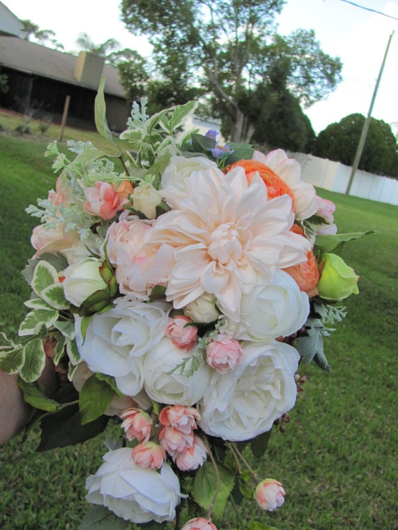 Handmade Bridal Bouquet, Bride's Bouquet, Peach Coral Bridal Bouquet, Garden Style Bridal Bouquet, Custom Wedding Bouquets,Cascading Flowers