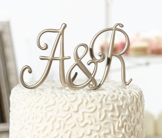 Wedding Cake Top Letters, Gold Monogram Wedding Cake Topper, Initial Wedding Cake Topper,Wedding Cake Picks, Letter Picks for Party Cakes