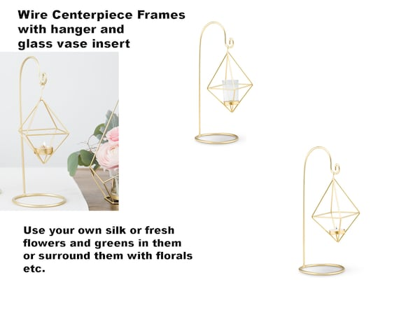 Geo Wedding Centerpiece Wire Frames, Gold Geometric Hanging Vases, Wedding Decorations, Wedding Centerpiece Vases, Modern Wedding Vases