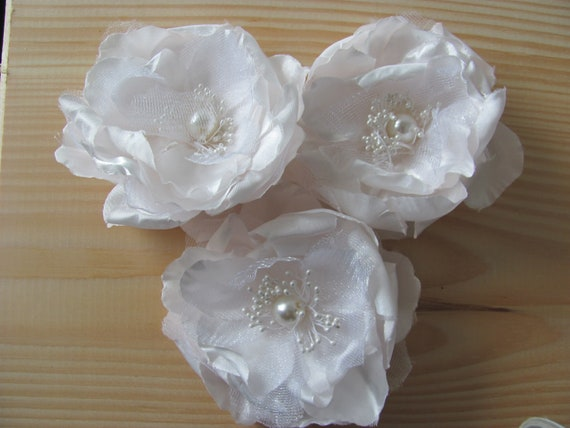 3 Hair Flowers, Sash Flowers, Flower Pin, Flower Corsages, White with Hint Of Pink Blush Flowers