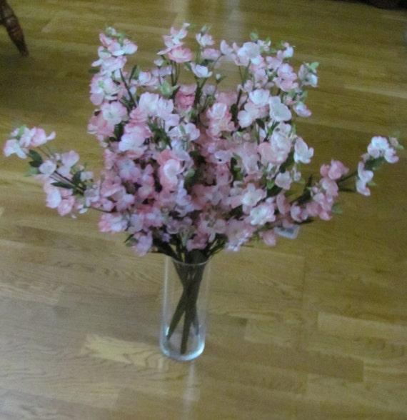 5 Pink Apple Blossom Bushes, Flowers Spring Pink Artificial Flower Bushes, Apples Blossom Bushes