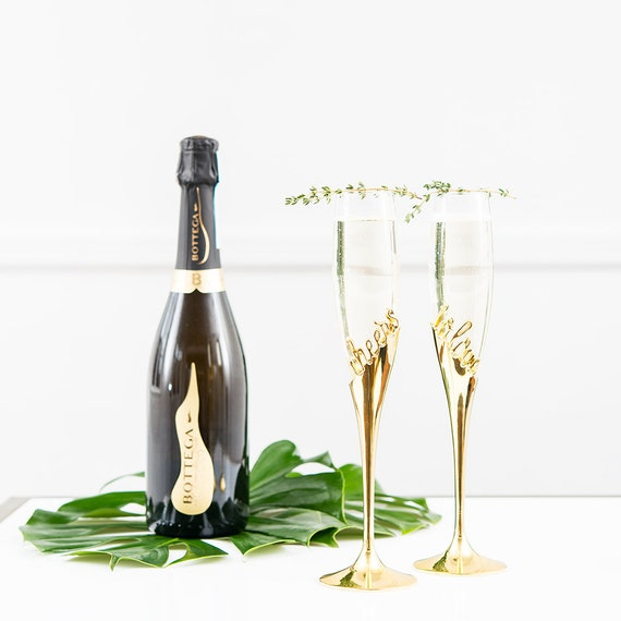 Wedding Glasses, Sheers to Love Gold Tone Champagne Reception Flutes, Party Supplies Bride and Groom Glasses