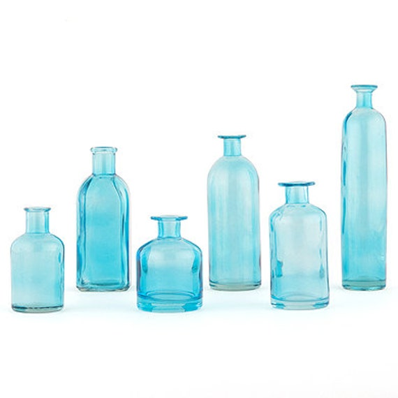 Blue Bottles, Wedding Bottle Vases, Craft Bottles,Seaside Bottle Vases,  Bottle Vase, Flower Vases, Bottle Crafting