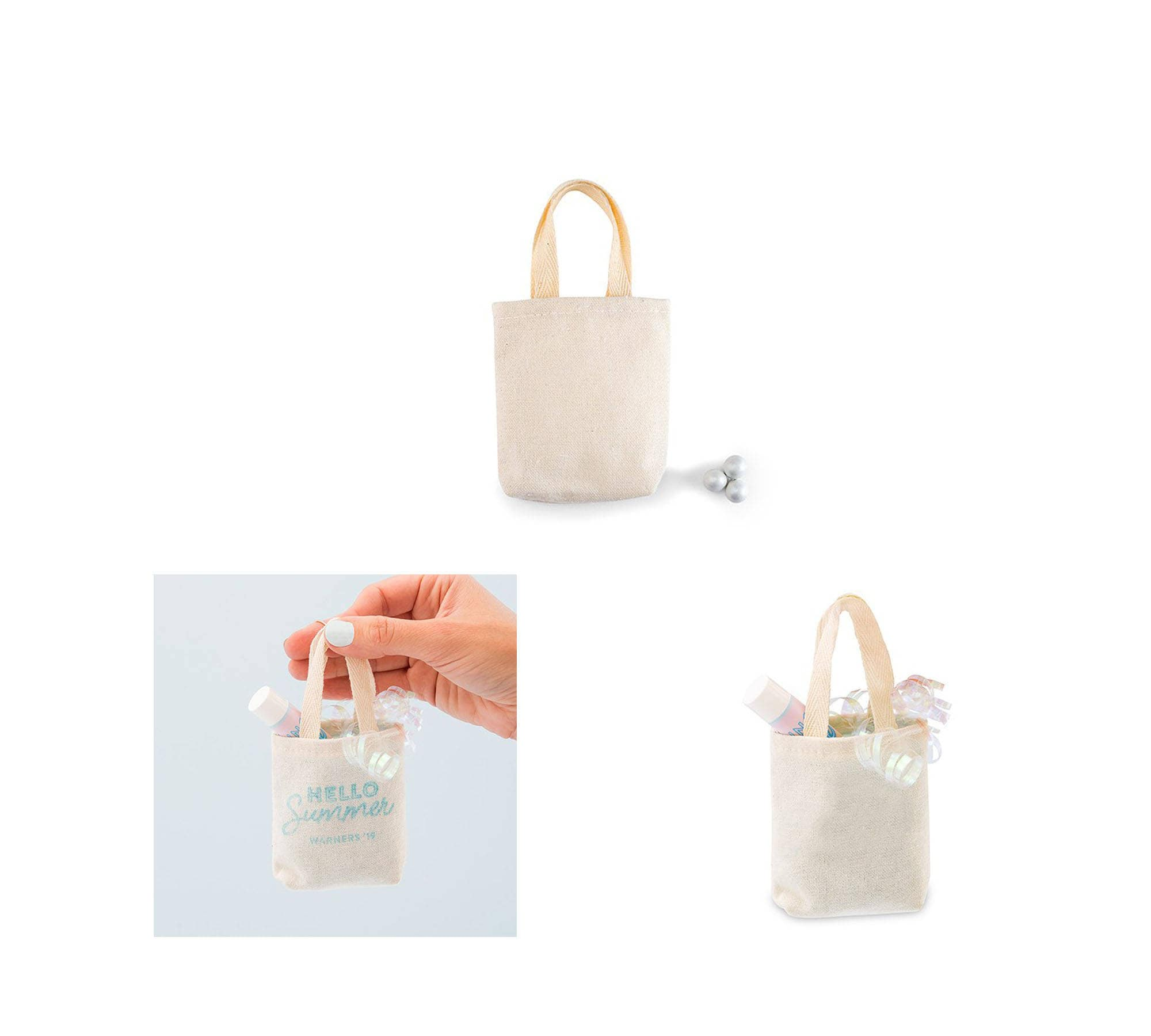 20 Party Favor Bags, Cotton Canvas Mini Tote Favor Bag,Wedding Favor ...