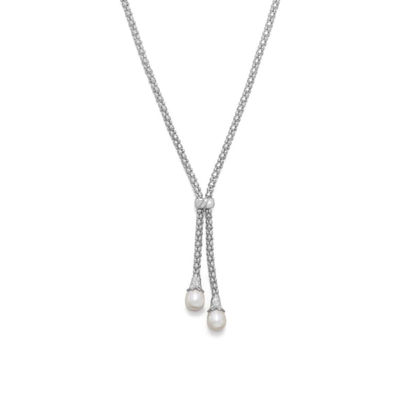 Bolo Necklace Rhodium Plated Coreana and Cultured Freshwater Pearl End, Italian Made Bolo Necklace