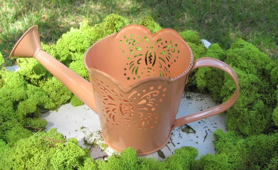 Watering Can Planter, Coral Color Butterfly Planter, on SALE Ideal for Mother's Day Floral Arrangements and Plants