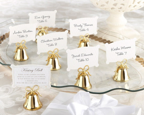 Gold Bell Place Card Holders Favors, Bell Wedding Favors,Ring for Kiss Bell Favors, Wedding Reception Table Card Holders, Place Card Holders