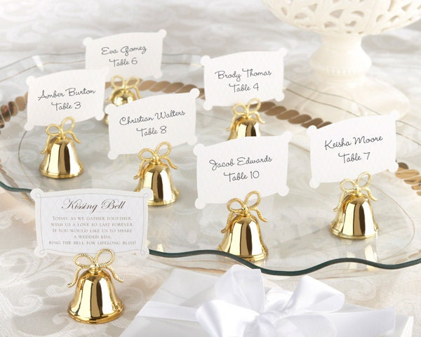 8 Gold Bell Place Card Holders Bell Wedding Favors Ring For A Kiss