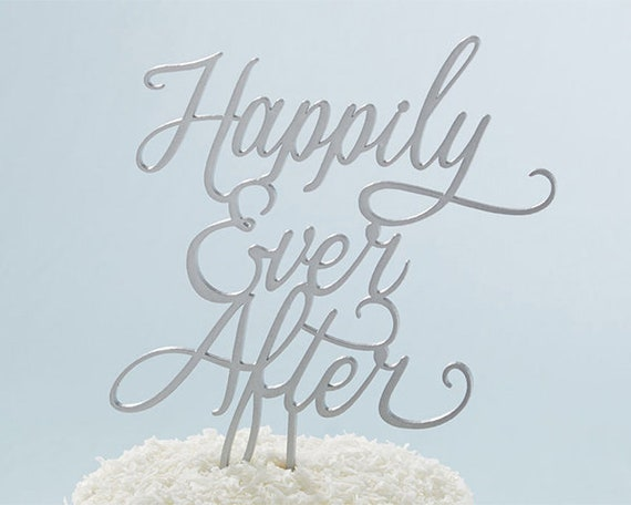 Wedding Cake Topper , Wedding Cake Pick, Happily Ever After, Wedding Cake Top, Floral Centerpiece Pick