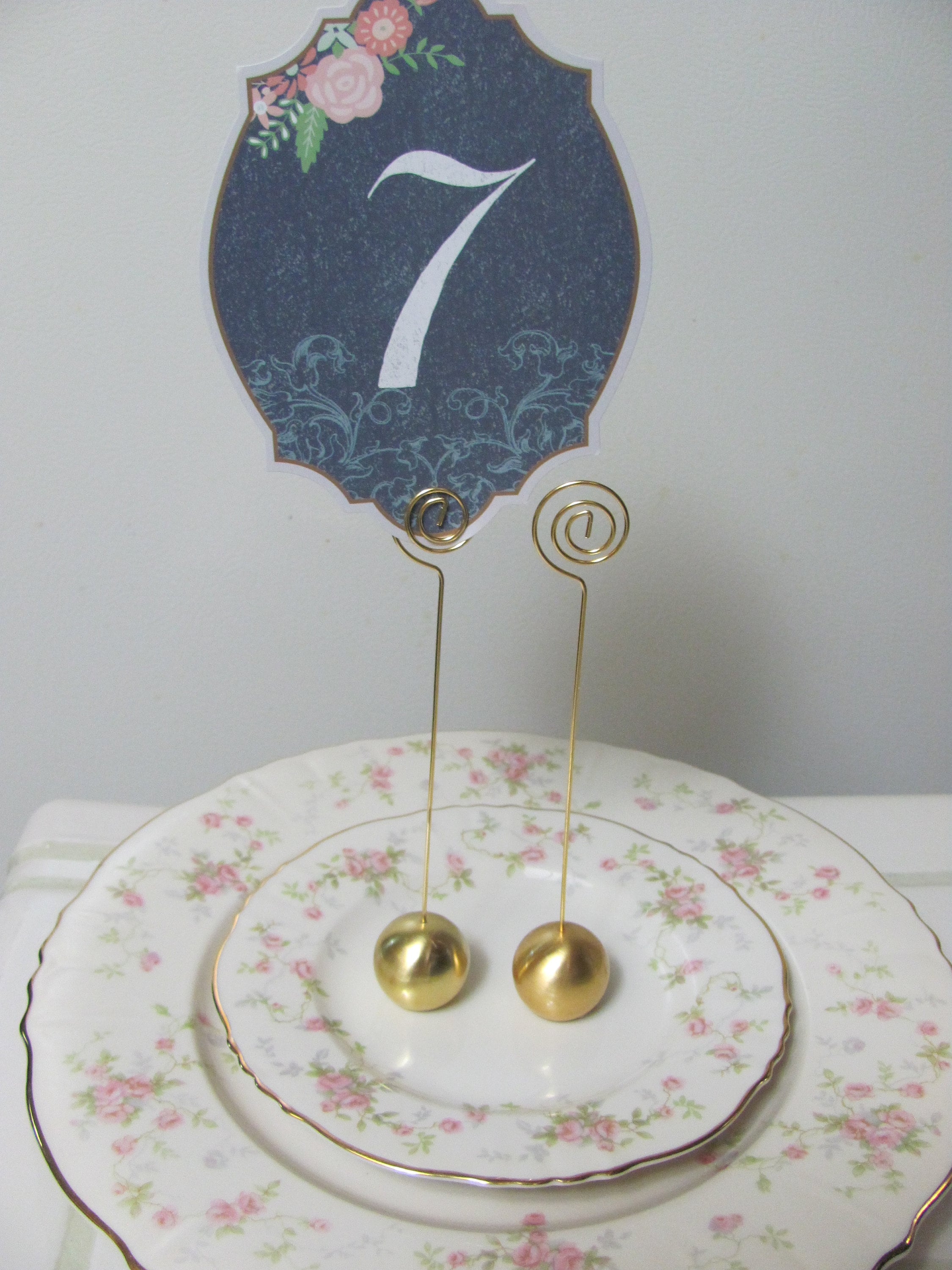 Wedding Stationery Holders Gold Round Table Number Holders Etsy